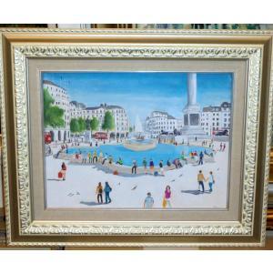 (定価50,000円)イギリス絵画 油絵 ゲイリー(イギリス)「トラファルガー広場」インテリア 風景|dipint