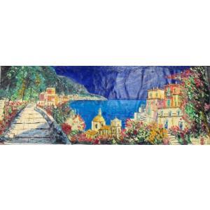 油絵 絵画 マルコ 作 イタリア風景 「アマルフィ」 インテリア リビング|dipint