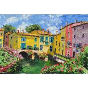 大型油絵 絵画 マルコ 作 「コモ湖と家並」 イタリア風景画 インテリア|dipint