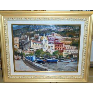 (定価350,000円) イタリア絵画 油絵 アプライル(イタリア)「アマルフィ」 風景画 インテリア|dipint
