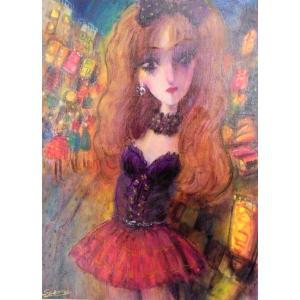 絵画 東京の夜の街 8号油絵 諸岡理 作 「東京の夜・女性」 インテリア モダン|dipint