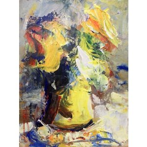 絵画 油絵 マンドラ(フランス) 「静物」 花 インテリア|dipint