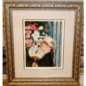 ルノワール 団扇を持つ少女 名画絵画 ジグレ版画 47cm×54cm 壁掛け|dipint