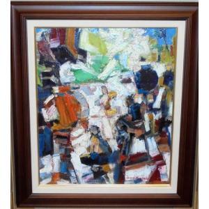 (定価120,000円) ウクライナ油絵 絵画 油絵 セルゲイ 作「抽象」モダンインテリア dipint