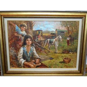 (定価250,000円) 絵画 油絵 サルヴァドーリ(イタリア)「ジプシー」 人物画 インテリア dipint