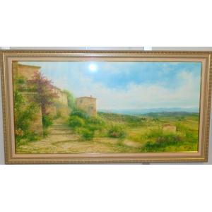 風景油絵 絵画 バラーロ 作 「イタリア・トスカーナ風景」 インテリア dipint