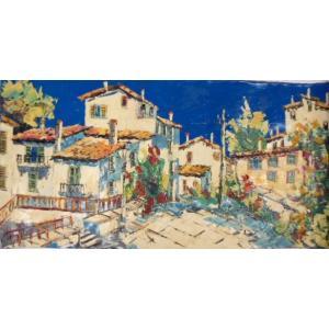 絵画 油絵 マルコ 作 イタリア風景・白い家並 イタリア風景画 インテリア dipint