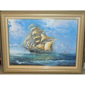 絵画 油絵 レナート 作 「帆船」 イタリア海景画 リビング インテリア|dipint
