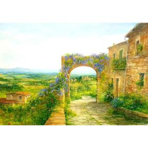イタリア風景 油絵 絵画 バラーロ 作 「トスカーナ風景」 インテリア dipint