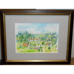 絵画 水彩画 横尾武之 作「ベルギー・ブルージュの丘」 風景画 インテリア|dipint