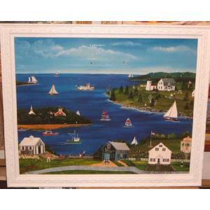 絵画 美術 アート 立体複製画 「マリン」 風景画 海 港