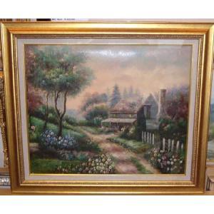 (定価48,000円)絵画・油絵 風景画 ヨーロッパ風景・自然と家 12号|dipint