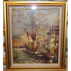 絵画・油絵 風景画 ヨーロッパ風景・港の船 12号|dipint