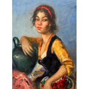 絵画 油絵 ペーン 「Zingara」 イタリア人物画|dipint