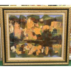 絵画 油絵 マリオ 作 Hill イタリア風景画 抽象|dipint