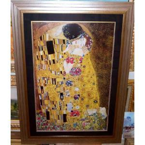 クリムト ザ・キス 名画 ジグレ版画 大型絵画 77cm×105cm|dipint