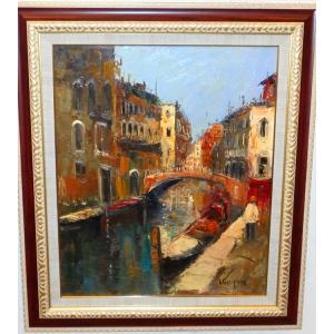 (定価500,000円)イタリア風景 絵画 油絵 セレク 作 「ベネチア」 風景画 インテリア|dipint