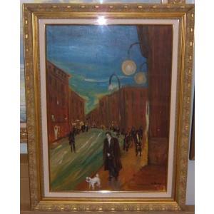 絵画 油絵 ニノ 作 ナポリ イタリア風景画 人物画 リビング|dipint