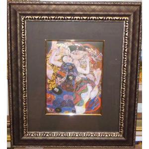 クリムト ザ・ヴァージン 名画 ジグレ版画 絵画 額41cm×47cm|dipint