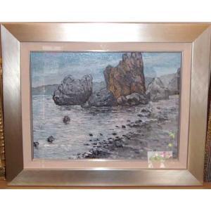 (定価45,000円)絵画 油絵 ルチアーニ 作 Marina 海 風景画|dipint