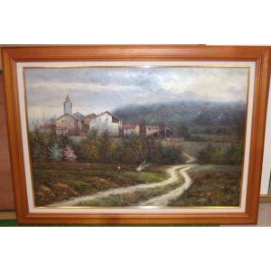 絵画・油絵 風景画 30号「ヨーロッパ田園風景」 大型タイプ dipint
