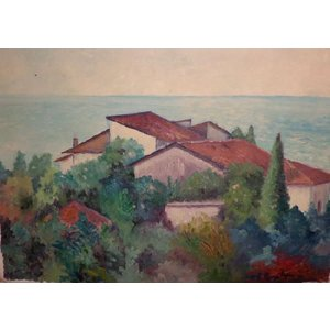 絵画 油絵 ジェンキンズ 作 イタリア・トスカーナ 風景画 御祝い 贈り物 プレゼント|dipint