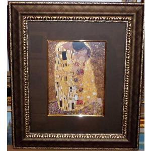クリムト ザ・キス 名画 ジグレ版画 絵画 額41cm×47cm|dipint