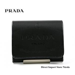 5362d2df420a プラダ財布 PRADA ナイロン/レザー 三つ折り財布 メンズ ユニセックス NYLON JACQUARD+ 1MH176 ブラック