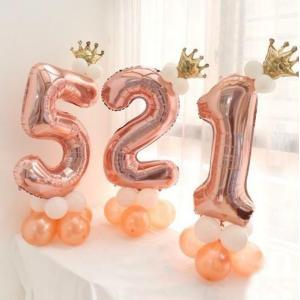 ローズゴールド 4バルーンアート 誕生日 結婚式 パーティー 風船 数字 バルーン 40インチ 王冠付き 飾り付け 可愛い|directshop2