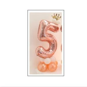 ローズゴールド 5バルーンアート 誕生日 結婚式 パーティー 風船 数字 バルーン 40インチ 王冠付き 飾り付け 可愛い|directshop2