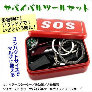 いざというときに役立つサバイバルツールセット ファイアースターター、救助笛、方位磁石、ワイヤーのこぎ...