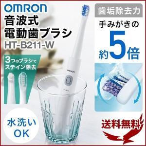電動歯ブラシ 音波式 オムロン 本体 歯ブラシ 高速音波 振動 歯垢除去 電池式 電池付き 3種類 ブラシヘッド付き 音波式電動歯ブラシ HT-B211|discount-spirits2