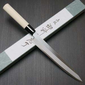【 白紙鋼 柳刃刺身包丁 藤次郎 F-930 仕様 】   ● 刃渡り:約210mm ● 全長:約3...