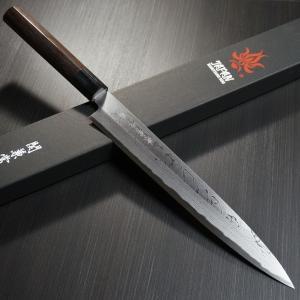 包丁 柳刃刺身 240mm 11層ダマスカス鋼 安来鋼白紙2号 8寸 紫檀柄 関兼常 鋭い切れ味永続き KC-402|discovery-shop