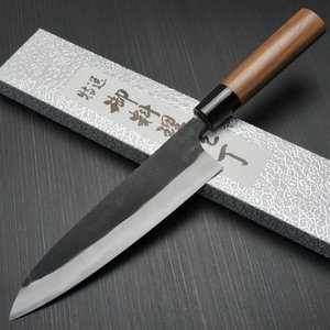 包丁 牛刀 180mm 越前打刃物 安来鋼青紙2号 鍛造 6寸 ウォルナット柄 山本打刃物 日本製 鋭い切れ味永続き|discovery-shop
