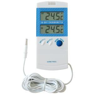 室内外温度計 デジタル ガーデニング 水槽 冷蔵庫 温度管理 センサーコード付き|dish