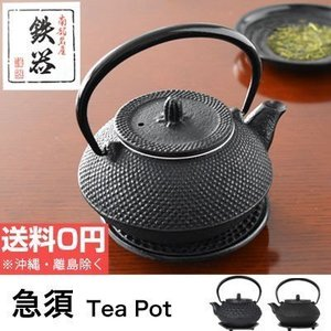 急須 瓶敷セット アラレ/亀甲 南部鉄器 日本製 おしゃれ 丸型 0.3L iron kettle レトロ 鋳造 お茶 白湯 紅茶|dish