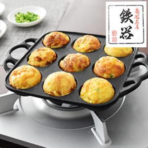 南部鉄器 たこ焼き器 スクエアパン たこ焼きプレート 鉄 及精 日本製 鉄鍋|dish