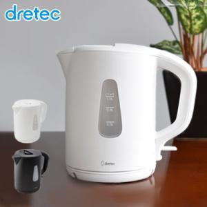 電気ケトル 1.0L ケトル 電気・電気やかん 空だき防止 人気 沸かす コードレス ドリテック かわいい シンプル 使いやすい おしゃれ ホワイト|dish