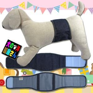 犬服 マナーベルト デニム・縁取り水玉 吸収体装着部分幅広タイプ(超小型犬から中型犬用)メール便なら送料無料 マナーバンド ドッグウェア 犬の服