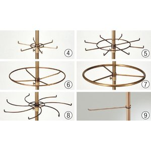 ハンガースタンド 円型リング小 回転フック アンティークゴールド 6番 回転什器 ディスプレイ用品 小物展示に最適 EX-311-1-6|displan