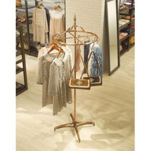 ラウンドハンガー 円型ハンガー アンティークゴールド 豪華装飾タイプ 古美色 クラシック 金色 店舗什器 ハンガーラック EX2-308-1-1|displan