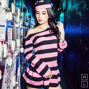 囚人 コスプレレディース レディース costume【コスチューム】ピンクボーダー セクシープリズナー 3点セット|dita