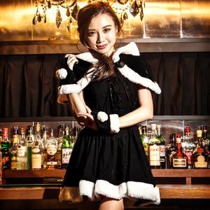 costume【コスチューム】ケープ付き レースアップ ブラックサンタドレス 3点セット (ドレスワンピース、ケープ、ハンドカフス)/全1色(BL)コスプレ 仮装 衣装|dita
