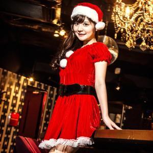 サンタ コスプレ 衣装costume【コスチューム】太ベルト付き ギャザー べロアサンタドレス3点セット (ドレスワンピース、帽子、ベルト)/全1色(BL)クリスマス|dita