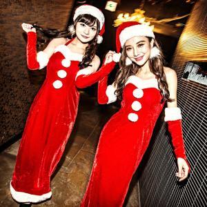 サンタ コスプレ 衣装costume【コスチューム】帽子付き サンタロングドレス3点セット (ロングドレス、帽子、アームカバー)/全1色(BL)クリスマス|dita