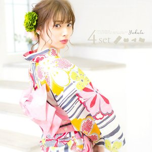 初心者もOK 一人で簡単に着られる作り帯浴衣 セット レディース 浴衣セット(ゆかた・つくり帯・下駄・着付け本)4点セット かすれ墨と古典桜 大正ロマン|dita