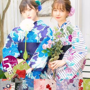 浴衣 新作 2018 京都本格 女性浴衣4点フルセット(ゆかた 作り帯 下駄 着付マニュアル本)  選べる11柄 初心者もOK 一人で簡単に着られる作り帯|dita