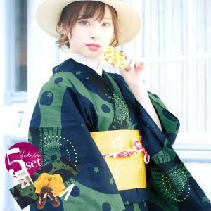 浴衣 新作 2018 京都本格 女性浴衣4点フルセット(ゆかた 作り帯 下駄 着付マニュアル本) 星降る夜のドライブデート 初心者もOK 一人で簡単に着られる作り帯|dita