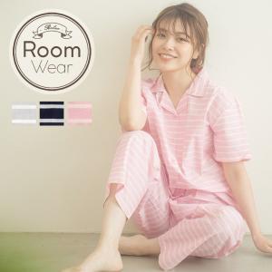 ルームウェア シーチングボーダーシャツ上下セット/3色 部屋着 パジャマ レディース 可愛い ボーダー シンプル 女子 ナイトウェア 大人|dita